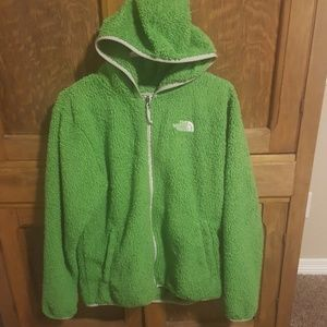 Fuzzy North Face zip up sweatshirt size large